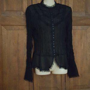 Sunny Leigh Sheer Black Long Sleeve Ruffle Blouse